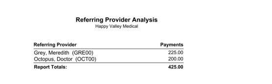 Medisoft Referring Provider Analysis