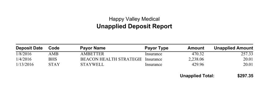 Medisoft Unapplied Deposit Report by Payor Name
